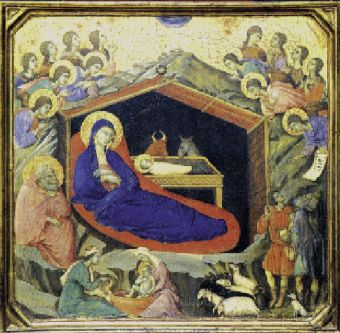 Duccio di Buoninsegna(Sienna ca 1255-ca         1319), Nativité 1308-1311. Tempera sur bois, National Galery of         Art, Washington.