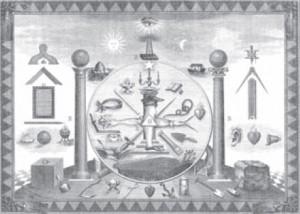 Emblèmes maçonniques sur une gravure de 1874.