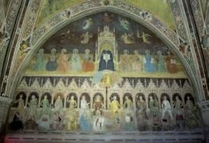 Andrea da Firenze, Le Triomphe de saint Thomas d'Aquin. Au centre de la fresque, auxpieds du Doctor angelicus, trois « hérétiques » : Arius, Sabellius et Anerroës.Fresque dans la Chapelle des Espagnols de l'église Santa Maria Novella de Florence. Photo © CC, Wikimedia.org