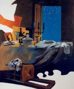 Le tableau intitulé « L'Issue » est le septième et dernier du cycle que le peintre Arcabas (né en 1926) a consacré à l'épisode des disciples d'Emmaüs. Ce cycle est visible dans une chapelle à Torre de Roveri près de Bergame en Italie.
