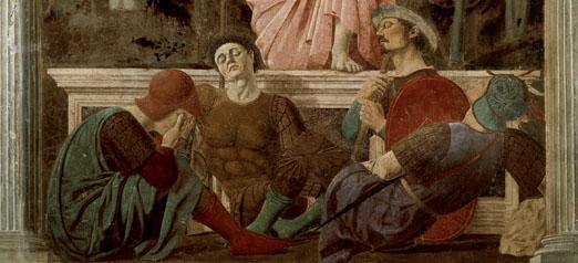 Piero della Francesca (1412/1420-1492) La Résurrection. Fresque, ca.1456. Museo civico, San Sepolcro. Le peintre a probablement réalisé son autoportrait sous les traits du deuxième personnage de face à partir de la gauche, endormi