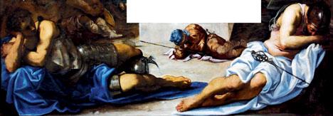 """Jacopo Robusti dit Le Tintoret (1518-1594) La Résurrection. Peinture sur toile, 1565. Venise, Galleria dell'Accademia Afin d'en rendre les expressions plus claires, nous avons """"découpé"""" les tableaux, retirant à chaque fois l'image du Christ ressuscité."""