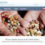 """Page d'accueil du site de la représentation quaker auprès des Nations-Unies. Cette image illustre leur étude """"Qui possède les semences ? Propriété intellectuelle et alimentation"""". http://www.quno.org"""