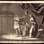 Didyme donnant ses vêtements militaires à Theodora. Gravure néerlandaise du XVIIIe siècle.