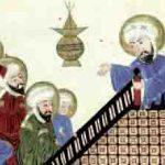 Mahomet faisant son dernier prêche à de nouveaux convertis, tiré d'un manuscrit médiéval d'un traité d'astronomie persan de al-Biruni. Paris, Bibliothèque nationale de France